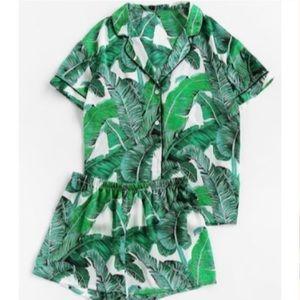 Palm Leaf Silk PJ Set